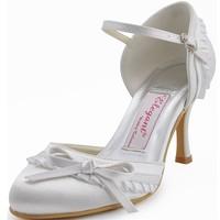 EP11070 Women's  White Ivory Bridal Pumps Almond Toe Bow Stiletto Heel Satin Wedding Shoes