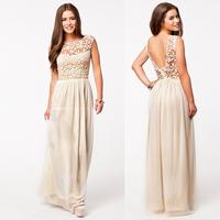 Women Lace Dress Sleeveless Tank Backless O neck Print Casual Dresses Party Chiffon Floor-Length Dress vestidos de festa 105