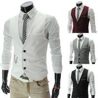 Hot Sale Men's Vests Classic Male Clothing Autumn Man Casual Slim V-neck Vest Suit Vest 4 Colors M~XXXL