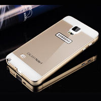 Aluminum Frame Back Cover Case For Samsung Galaxy Note 4 N9100 Luxury Case Cover New Quality PC Mirror Face Back free shipping