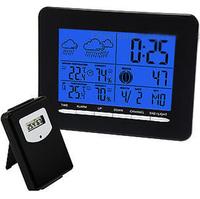 LED backlight Temperature RCC DCF Digital Weather Station w/ Wireless Sensor Humidity Temperature  C/ F