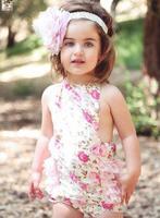 Fashion Baby Girls Floral Leopard Romper Infant Lace petticoat Newborn Bodysuit Posh Jumpsuit Child Clothing 3815