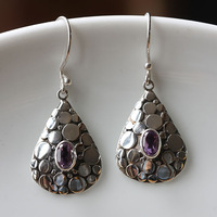 Handmade 925 silver inlaying natural amethyst elegant vintage national trend long design earrings