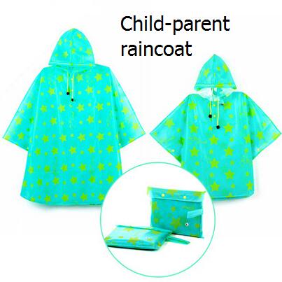 2014 New Fashion EVA Raincoat Women Kids Rain Ponchos Outdoors Waterproof Travel Cloak Capa De Chuva Blue Star Chubasquero Mujer(China (Mainland))