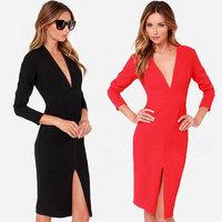 Women Fashion Slim Bodycon Knee-length Pencil Dresses 2014 New 3/4 Sleeve Deep- V neck Solid Red Stretch Evening OL Work Dresses