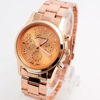 Geneva Brand Wrist Analog Watch Stainless Steel Watch Men Women Ladies High Quality Low Price 3 Colors G05