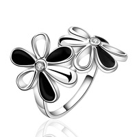 NEW Arrivel 2014 USA EURO Style Fashion Silver plated two flower fenska Ring Wholesale Jewelry SMTR631