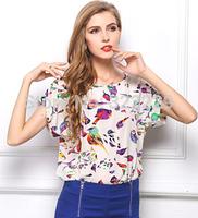 Size S-XXL 2015 new European and American big size women's T-shirt printed t -shirts bird bat shirt short-sleeved chiffon shirt