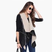 Autumn Winter Women Clothes Fleece Liner Colete Sleeveless Outerwear Patchwork Oversize Faux Leather PU Sleeveless Vest Jacket