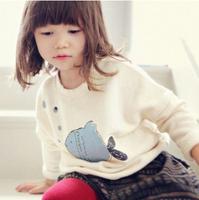 New 2014 Cotton Fish Children T Shirts for Girls Kids T-Shirts Tops Thickening Hoodies Girls Pullover Sweatshirt