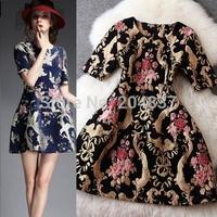 New arrival 2015 women's spring vintage royal jacquard short-sleeve dress