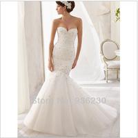 2014 New High Quality Mermaid Sweetheart Sleeveless Court Train Organza with Beading Beautiful Wedding Dresses xuefb1961569634