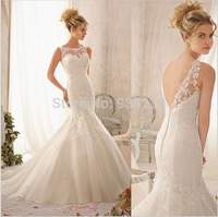 Free Shipping New!! Mermaid Shee Neckline Delicately Lace Appliques On Soft Organza Wedding Dresses 2014 Bridal Gown qw02915695