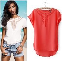 2014 summer predecessor carved hollow chiffon shirt Women Sexy Chiffon Blouse Deep Shirt Slim Casual Blusas Feminina Woman Tops