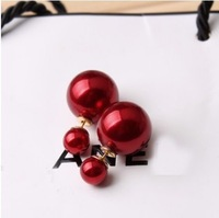 Double-faced wearable New Fashion 2015 Double Side Pearl Stud Earring For Women Free Shipping