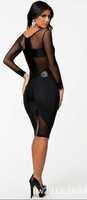 free shipping!2015 New Women Sexy Long Sleeve Dress Gauze dress sexy package hip Slim