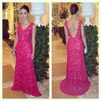 Full Lace Scalloped Sleeveless Long Evening Dresses Romantic V Back Red Mermaid Evening Gown Vestido de noite  TQ-002