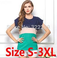 2015 European and American big yards short sleeve chiffon shirt three -color stitching small fresh spell color t-shirt