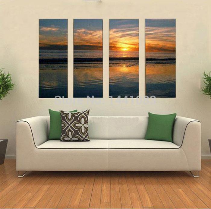 De alta qualidade abstrata moderna 4 Pcs Set do sol do oceano ondas paisagem pintura a óleo sobre lona marítimas início Wall Art Decor(China (Mainland))