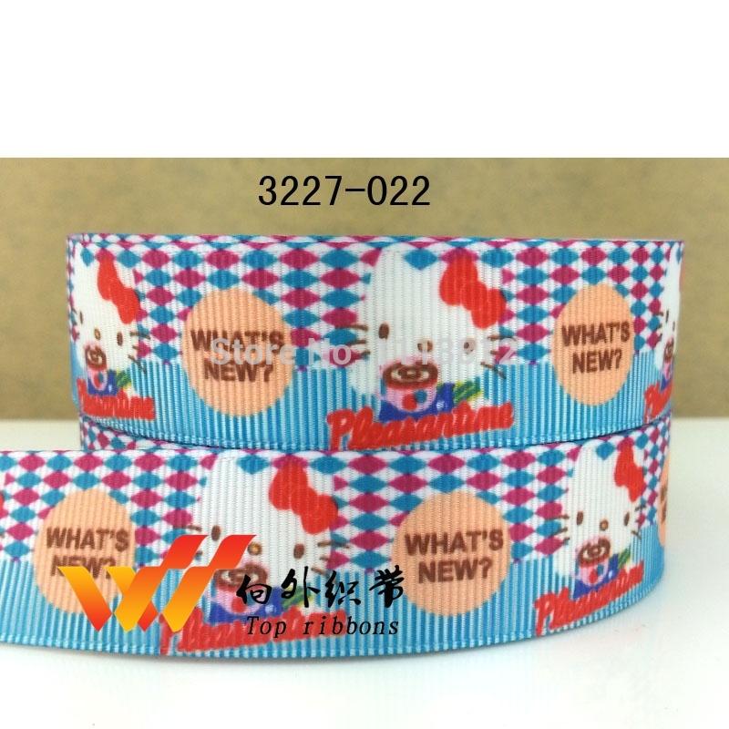 """Free shipping 50 yards 7/8"""" 22mm Hello kitty ribbon printed grosgrain ribbon 3227-022(China (Mainland))"""