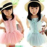 [retail] Summer hot sale girls cake tutu dresses kids princess bow dresses casual dress pink green 1010