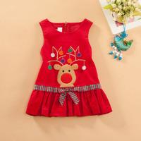 Girls Corduroy dress Embroidery princess dress Baby girls Winter Dress Christmas bowknot elk pattern sleeveless vest dress