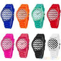 Unisex Fashion Geneva Stripes Silicone Band Jelly Gel Quartz Analog Wrist Watch