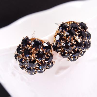 401 Fashion cute woman lady girl Rhinestone flower Stud Earrings ball Cubic zirconia black metal 20pair/lot free shipping(China (Mainland))