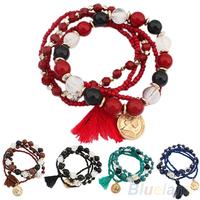 Women's Bohemian Multilayer Mixed Acrylic Beads Rhinestone Elastic Bracelet