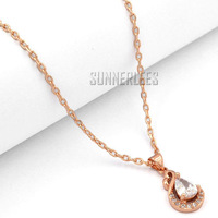 Free Shipping NEW Fashion Jewelry Women Girls Water Drop w CZ 18K Rose Gold Filled Pendant Necklace Optional Chain P41R