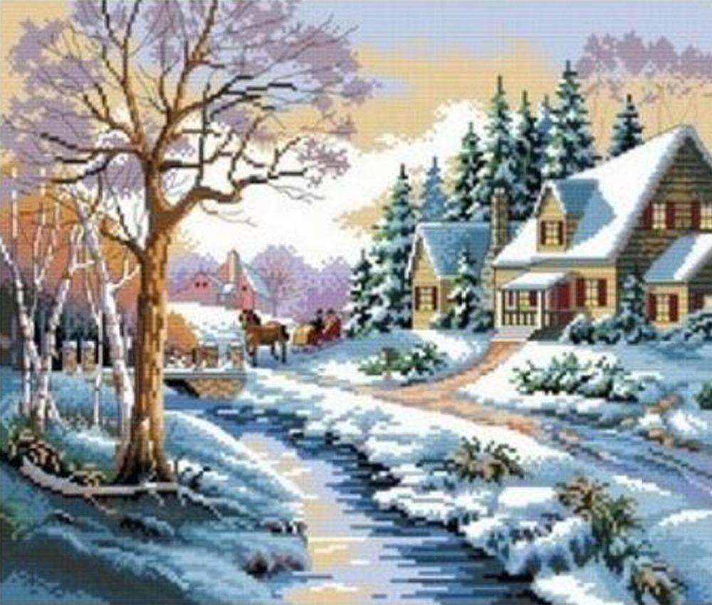 Diy mosaic square diamond painting landscape tree winter snow Villa rhinestone full complete embroidery cross stitch kit 30*40cm(China (Mainland))