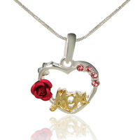 Hot Sale Cheap Unqie MOM heart alloy pendant with single red rose necklace sliver plated fashion pendant necklaces for women