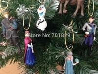 New 2015 Hot 6Pcs/Set PVC Frozen Action Figures Doll Christmas Tree Ornament PVC Drop Pendant Hanging Accessories Party Supplies
