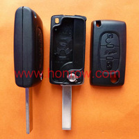 Free shipping Peugeot 407 blade 3 button flip remote key shell with trunk button ( HU83 Blade - Trunk - No battery place )