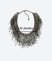fashion jewelry for women 2014 za choker collar chunky black tassels statement Necklaces & pendants LM-SC967