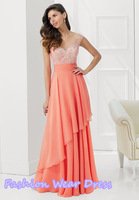 New Arrival Free Shipping 2015 A-Line Floor Length Chiffon Applique Draped Coral Zipper Blue Mother Of Bridal Dress Gown