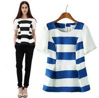 2015 European Style Women T-shirts O-neck Short Sleeve Striped Slim Cotton Summer Shirt Famous Brand Tops Blouse CL2228