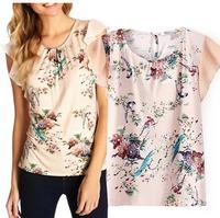 2015 European Style Women T-shirts O-neck Butterfly Short Sleeve Chiffon Summer Shirt Famous Brand Tops Blouse CL2232