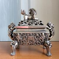 Tibetan Tibetan Buddhist bronze lion statue censer burner Incense & Incense Holders 14 cm