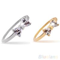 Women's Fashion Rhinestone Bowknot Zircon Alloy Wedding Party Jewelry Ring