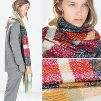 Women Shawl Wrap Cape Oversized Soft Striped print Plaid Blanket Scarf S41