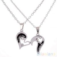 Men's Women's Lover Couple I Love You Alloy Rhinestone Heart Shape Pendant Choker Chain Necklace