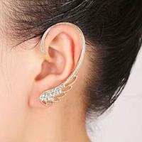 Personality women fashion earring clip rhinestone gold&silver crystal wing clip earring ear cuff female all match jewelry