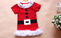 new 2014 girls dress, lace bowknot princess dress, Christmas dress with short sleeves, free shipping