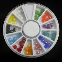 5wheel/lot 4mm Rainbow Color 3D Square Ceramic Drill Acrylic Nail Art Decoration Wheel DIY Tool Accessories Manicure Salon Tip