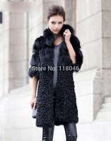 New 2014 winter wam long genuine real fox fur coat patchwork lamb fur long jacket for luxury women European overcoat slim coats