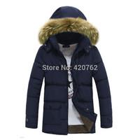 New 2014 Hot Sale Winter Mens Fashion Detachable Cap Zipper Outwear Fur Collar Hooded Long Jacket Warm Coat Size L XL XXL