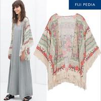 Fijipedia 2014 Women New Tassel Regular Floral New Antique Flower Fringed Shawl Sweater Chiffon Kimono Cardigan Coat Jacket