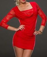 Free shipping 1pcs Fashion New women Lace red black stretch 3/4sleeve Sexy lingerie Sexy Club mini Dress xs-M