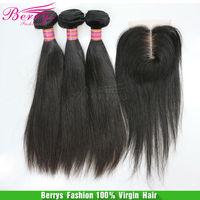 "7A Unprocessed hair Peruvian Straight Virgin Hair 3pcs Bundle With 1pcs Free Part closure Berrys hair products 4pcs/lot,10""-28"""